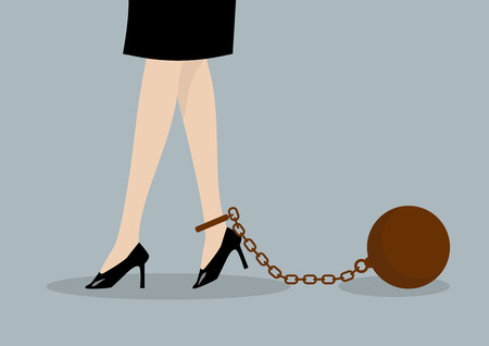 high heeled: Chained business woman. Business concept