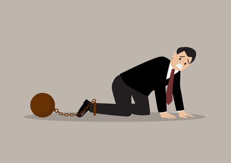 burden: Desperate businessman with weight burden. business concept