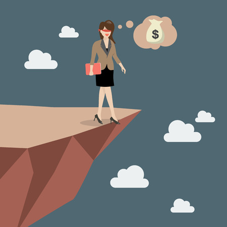 overhang: Business woman walk straight into the abyss. Illustration
