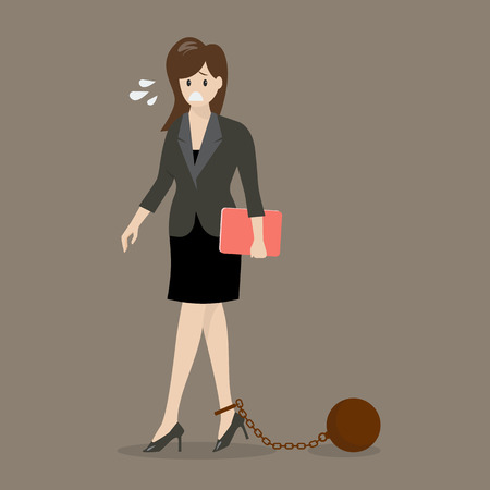 Business woman with weight burden. Business concept