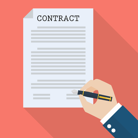 signing contract: Hand signing contract. Flat style with long shadow
