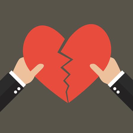 Manos desgarrando el símbolo del corazón. concepto del amor Ilustración de vector