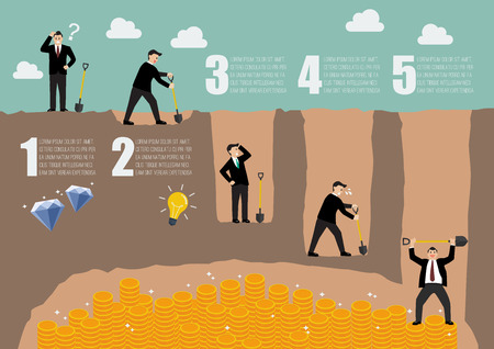 digging: Process of businessman digging a ground to find treasure infographic