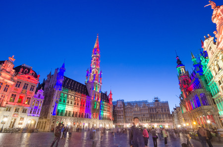 memorable: Brussels, Belgium - May 13, 2015: Tourists visiting famous Grand Place (Grote Markt) the central square of Brussels. The square is the most important tourist destination and most memorable landmark in Brussels. Editorial