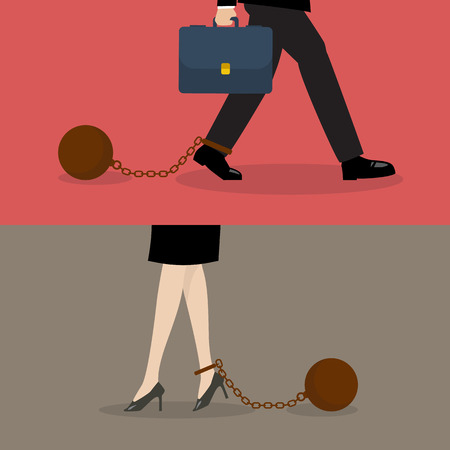 woman shoes: Business man and business woman with weight burden. Business concept