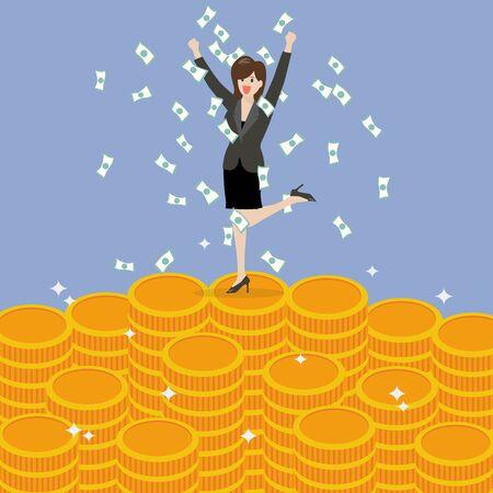 business woman: Business woman celebrating on Money. Business Success Concept