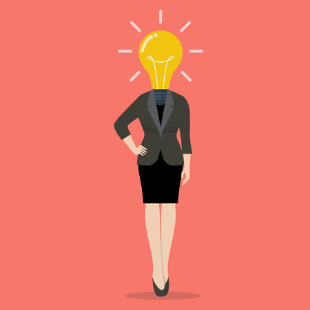 smart woman: Business woman with a light bulb instead of head. Business idea concept