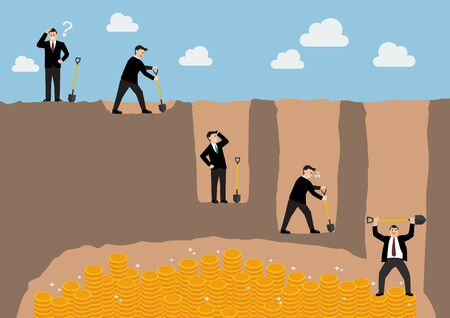 digging: Step of businessman digging a ground to find treasure infographic