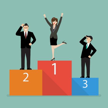 rivals: Business woman celebrates on winning podium next to her business rivals. Business concept