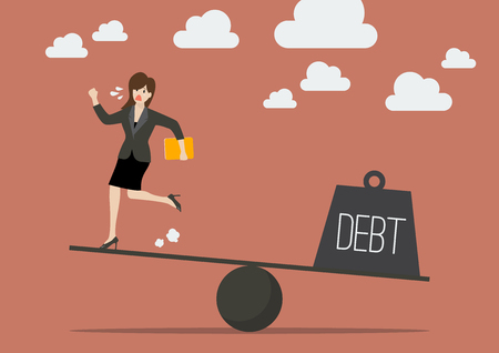 runing: Balancing between business woman and debt. Business concept Illustration