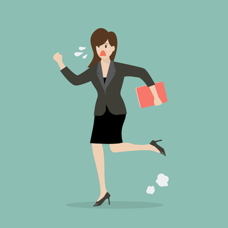 winning business woman: Business woman running in suit. vector illustration