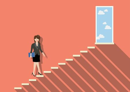 stepping: Businessman stepping up a staircase to success. Business Concept