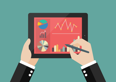 inforgraphic: Hand writing on screen of tablet with flat simplistic inforgraphic charts. Flat style design Illustration
