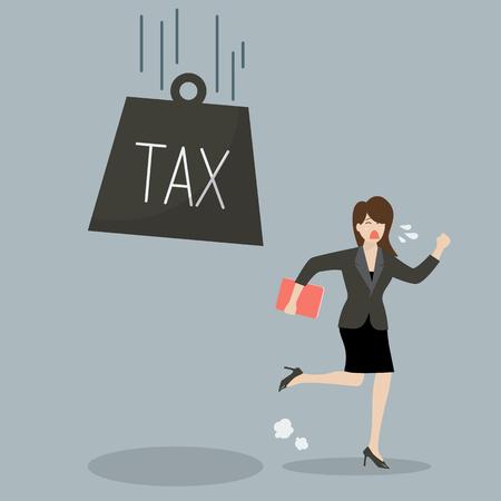 run away: Business woman run away from heavy tax. Business finance concept Illustration