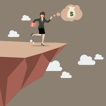 blind girl: Business woman takes a leap of faith on Clifftop. Vector Illustration
