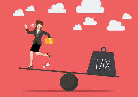 runing: Balancing between business woman and tax. Business concept Illustration
