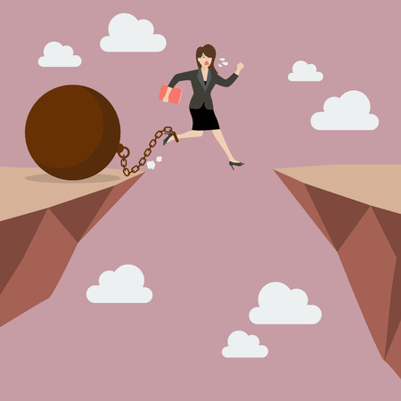Business woman jumps the abyss with the weight. Business concept Ilustração Vetorial