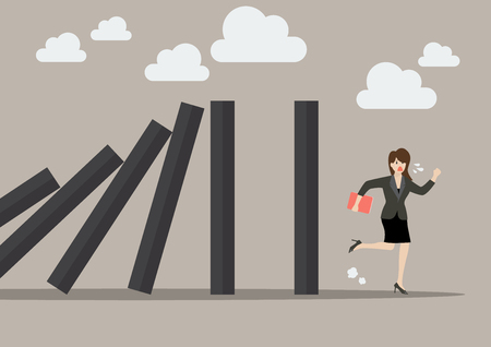 domino effect: Business woman run away from domino effect. Business Concept Illustration