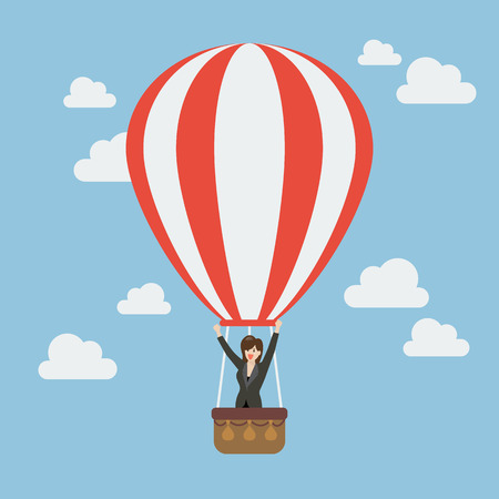 hot woman: Business woman celebrating in hot air balloon. Business success concept