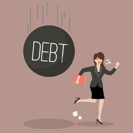 woman run: Business woman run away from heavy debt. Business finance concept Illustration