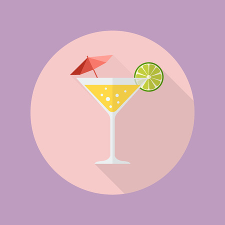 long drink: Cocktail drink flat icon with long shadow Illustration