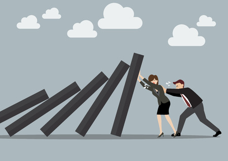 domino effect: Business man and business woman pushing hard against falling deck of domino tiles. Business Concept