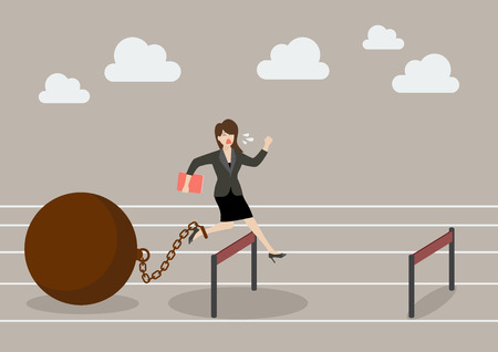 over weight: Business woman jumping over hurdle with the weight. Business concept
