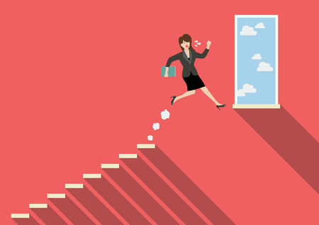 business woman: Business woman jumping to success. Business Concept Illustration