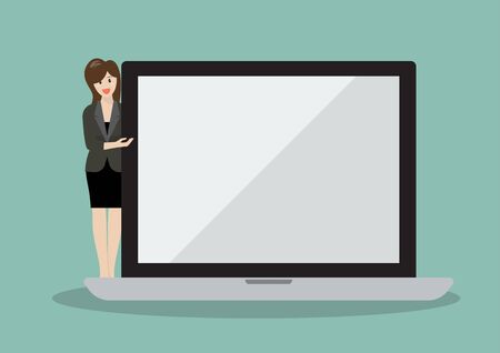 woman laptop: Business woman pointing to the screen of a laptop. Vector illustration