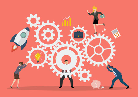 Koncepcja pracy zespołowej biznesowych z mechanizmem systemu. Ilustracja wektorowa