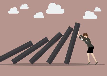 Mujer de negocios empujando con fuerza contra la caída de la cubierta de fichas de dominó. Concepto de negocio