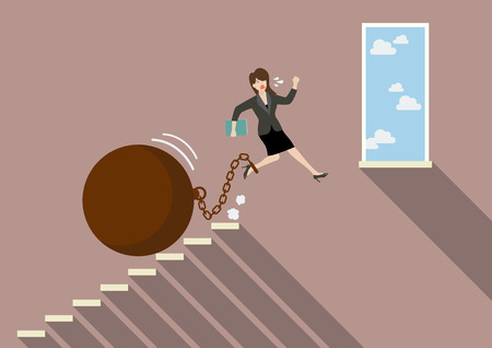 burden: Business woman jumping to freedom with heavy weight burden. Business Concept Illustration