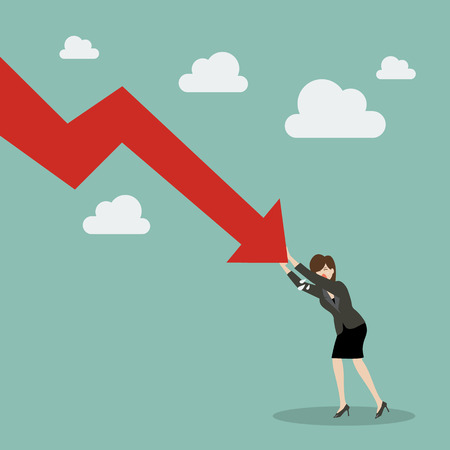 Business woman pushing hard against falling graph down. Business Concept