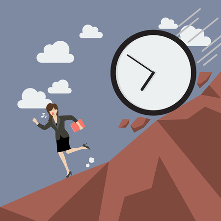 time run away: Business woman running away from clock attack. Business concept