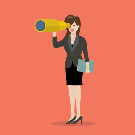 mujer mirando el horizonte: b�squeda de la mujer de negocios en la estrategia empresarial. Concepto de negocio Vectores