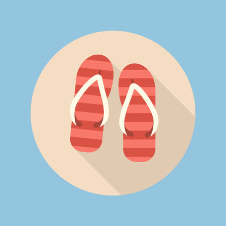 beach slippers: Beach slippers flat icon with long shadow Illustration