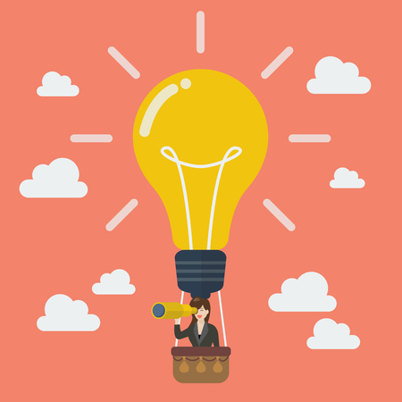 balloon woman: Business woman in lightbulb balloon search to success. Business idea concept