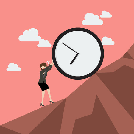 uphill: Business woman pushing huge clock uphill. Business concept