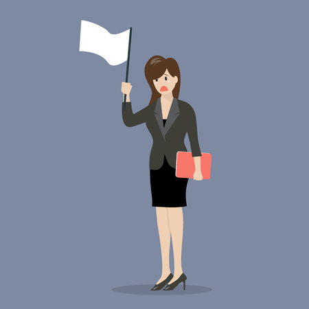 surrender: Business woman holds white flag of surrender. Business concept Illustration