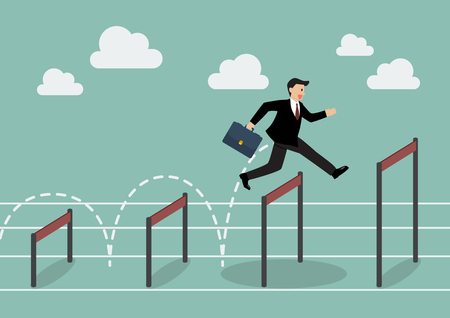 businessman jumping: Businessman jumping higher over hurdle. Business concept