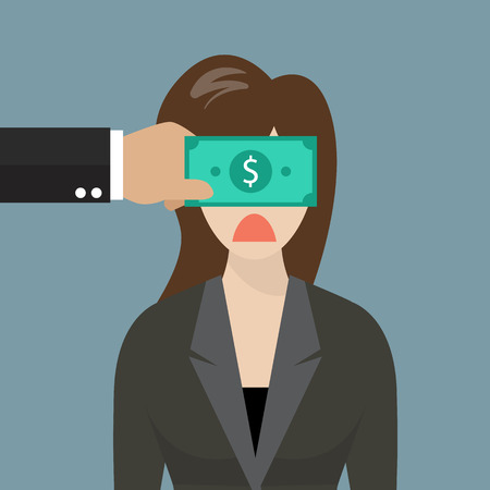 immoral: Business woman with dollar banknote taped to eyes. Business concept Illustration