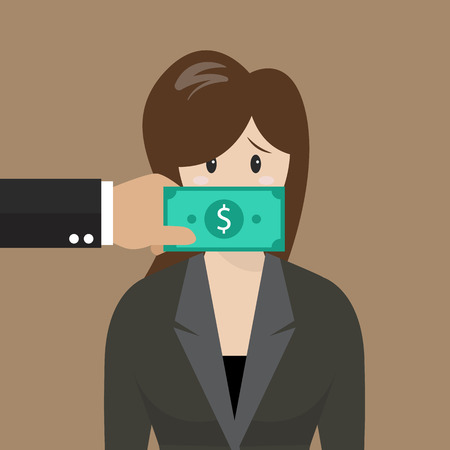Business woman with dollar banknote taped to mouth. Business concept