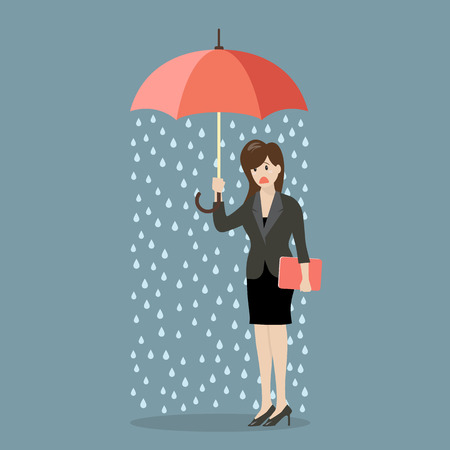 unfortunate: Business woman being wet from raining instead she holding umbrella. Business concept Illustration