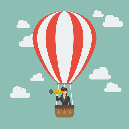 hot woman: Business woman in hot air balloon search to success. Business concept Illustration