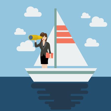 mujer mirando el horizonte: hombre de negocios y la navegación en busca de futuro. Concepto de negocio Vectores