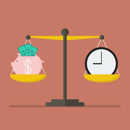 financial burden: Piggy bank and Time balance on the scale. Money saving concept
