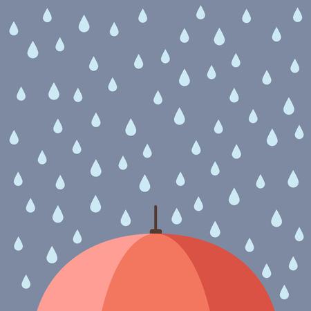 Gocce di pioggia con ombrello. Illustrazione Vettoriale
