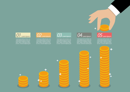 to collect: Business hand collect coin infographic. Financial business plan Illustration