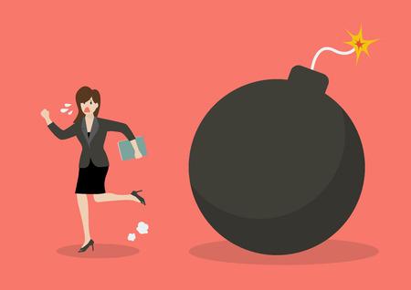 woman run: Business woman run away from bomb. Business finance concept