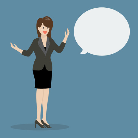 body language: Business woman talking with body language. vector illustration